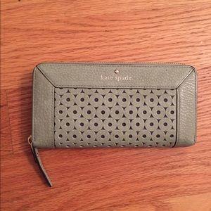 Kate Spade Leather Eyelet Wallet Zip-Around